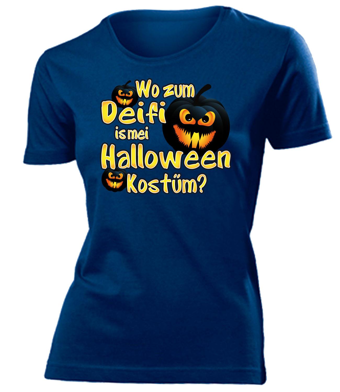halloween wo zum deifi is mei halloween kost m t shirt damen s xxl ebay. Black Bedroom Furniture Sets. Home Design Ideas