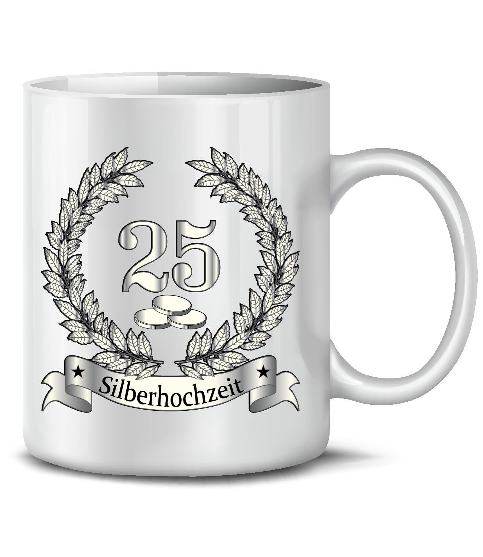 hochzeitstag - silberhochzeit 25 jahre ehe kaffeebecher - teetasse